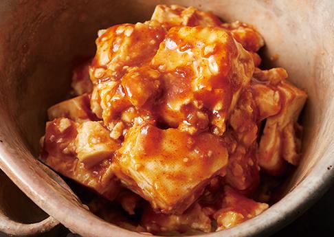 豆腐の味噌キムチ和え
